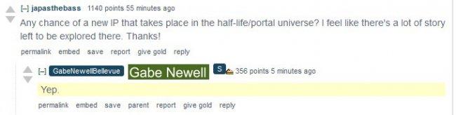 По словам Гейба Ньэлла, Valve работает над новыми играми