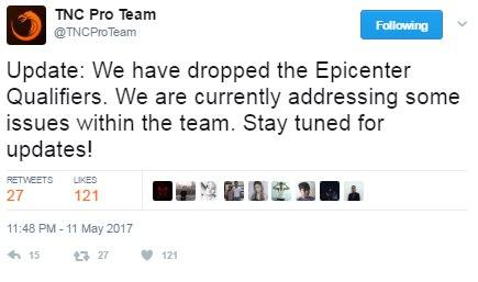 TnC Pro Team отказалась от участия в квалификации на EPICENTER: Moscow
