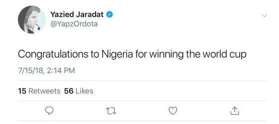 «Поздравляю Нигерию с победой на чемпионате мира», сообщает YapzOr