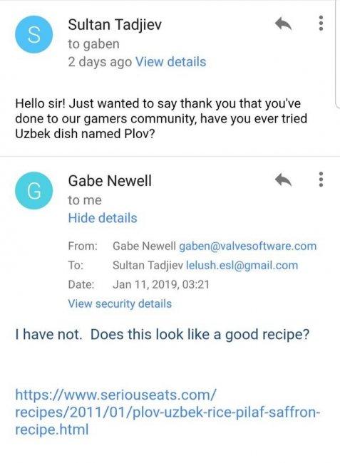 Гейб ответил на письмо фаната про плов
