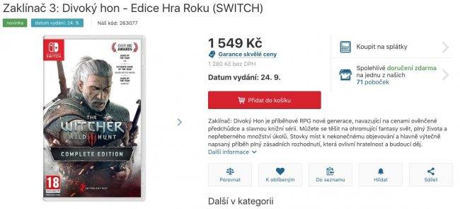 «Ведьмак 3» на Nintendo Switch может выйти 24 сентября 2019 года - Игры