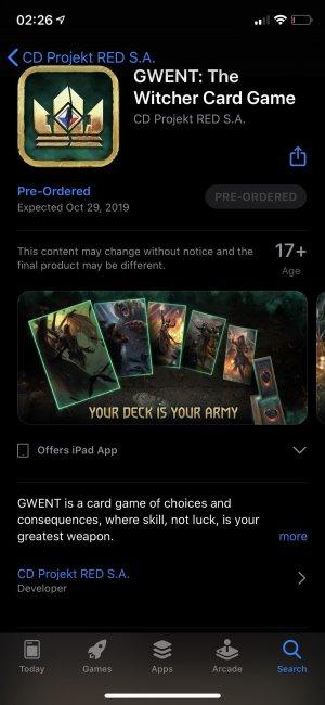 Мобильная версия Гвинта выйдет на iOS 29 октября. Игра доступна для предзаказа - Игры