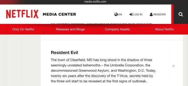 Netflix случайно опубликовал синопсис сериала Resident Evil - Игры