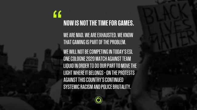 Chaos перенесла матч с Liquid на ESL One Cologne в знак поддержки протестов в США