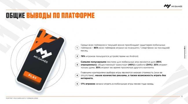 70% российских геймеров – старше 24 лет. Мобильный гейминг наиболее популярен, средний чек на покупку мобильных игр вырос на 46% (MY.GAMES) - Игры