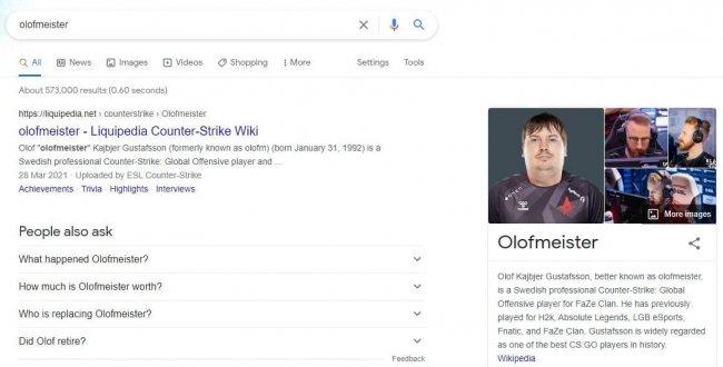 Google выводит фотографию Доси как основную по запросу «Olofmeister»
