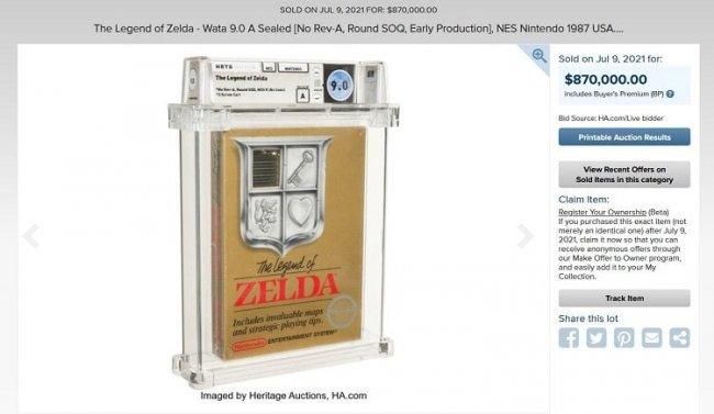 Картридж с оригинальной The Legend of Zelda был продан за 870 тысяч долларов. Это рекорд для видеоигр - Игры
