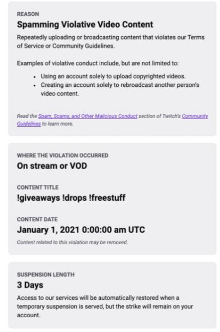 Twitch будет детальнее объяснять причину бана и указывать точное время нарушения - Стримеры и Twitch